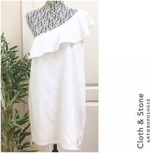CLOTH & STONE One Shoulder White Eyelet Dress